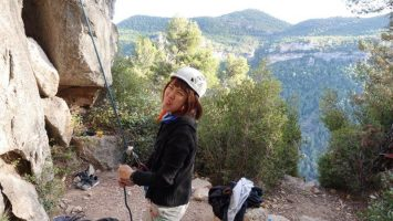belaying cez in the cold - selfie at the top - outdoor lead climbing siurana