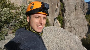 selfie at the top - outdoor lead climbing siurana