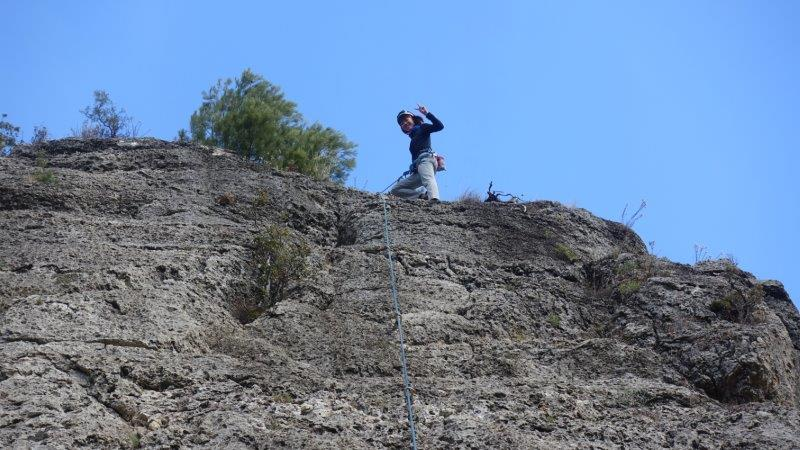 Top of the world in siurana - challenging 5C route with a big move - Siurana outdoor rock climbing courses