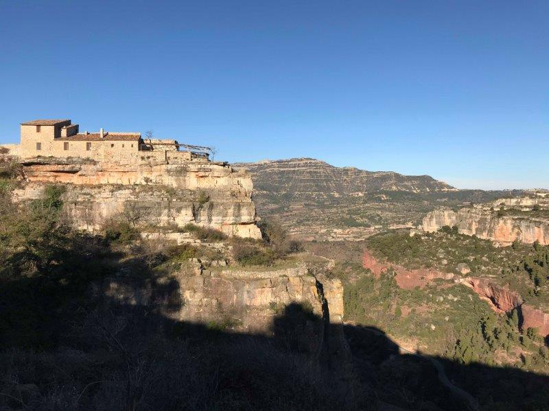 View of Siurana's picturesque village while driving up the little cliff, enjoying the amazing and incredible views surrounding Tarragona