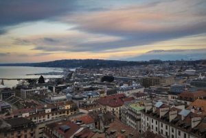 View of the city of Geneva at sunset from the top of Cathedral Saint-Pierre.