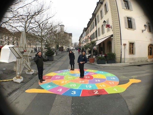 Carogue-Marche - The colourful street art on the ground. Relishing our childhood again! | Top places to visit in Geneva