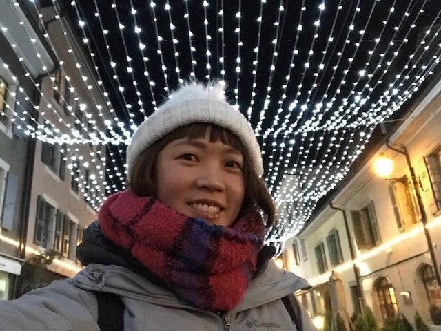 Selfie at Carouge with the christmas lights | Switzerland in Winter