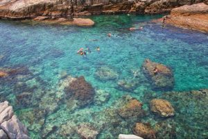 Snorkelling near dragon cave in jiufen, taiwan. Photo credited to Tao Taiwan Adventure Outings