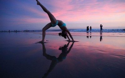 backward bend at kuta beach, Bali