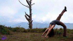 Backward bend in Philippines Mount Ugo | yoga escape holiday destinations