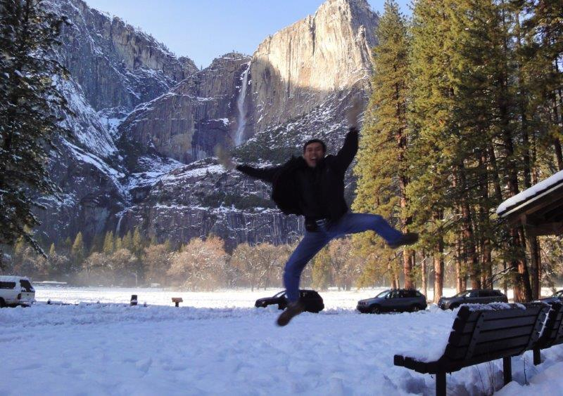 Dad doing jumpshot in Yosemite in 2012. At that age??!! Holidays always consist of a lot | Our Love to Travel