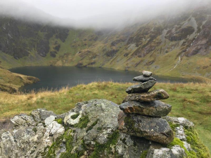 Our little erected stones of remembrance in Cadair Idris by the lake | Wales Mountain Hiking