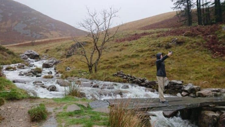 Selfies at the gushing river of Mount Cadair Idris