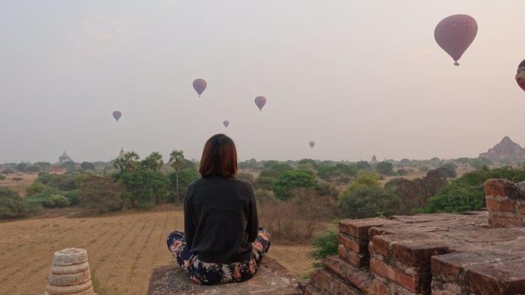 Witnessing the hot air balloons in Bagan at Sunrise