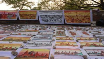 drawings of Bagan from a birds eye view