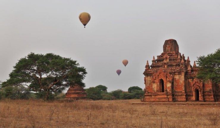 Hot air balloons over the stupas and pagodas of Bagan Myanmar