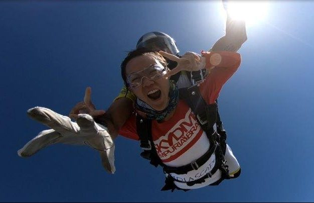 Looking absolutely mad while jumping off a plane in Costa Brava