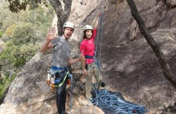 Cez belaying me in Solius while I ascend my first rock climbing route