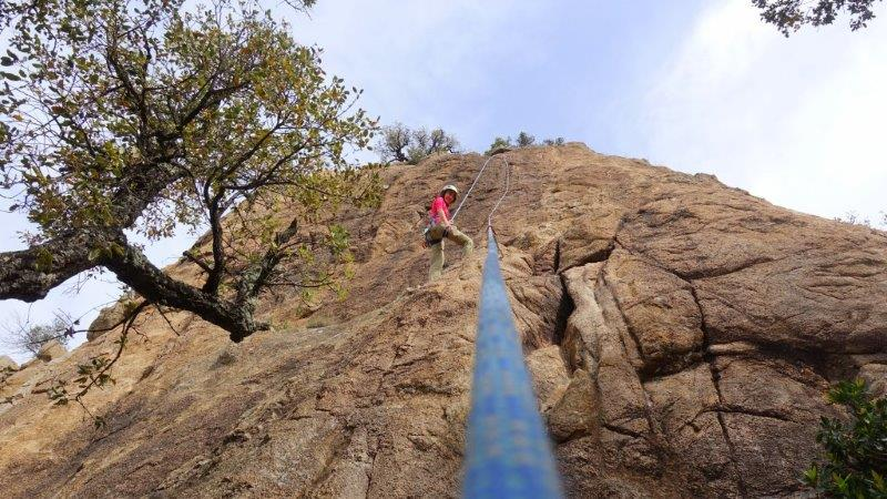 Reached the top of the route at Solius Climbing area