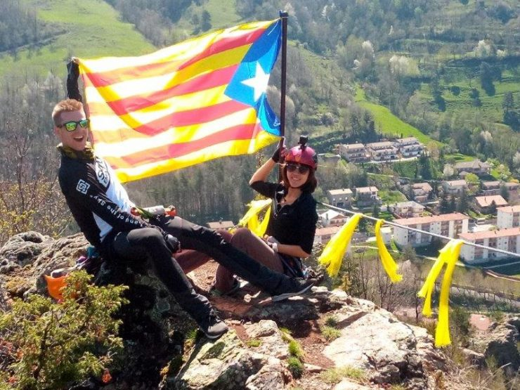 Experience Via Ferrata at Ribes de Freser with a crazy lookout point with the Catalonia flag flying high