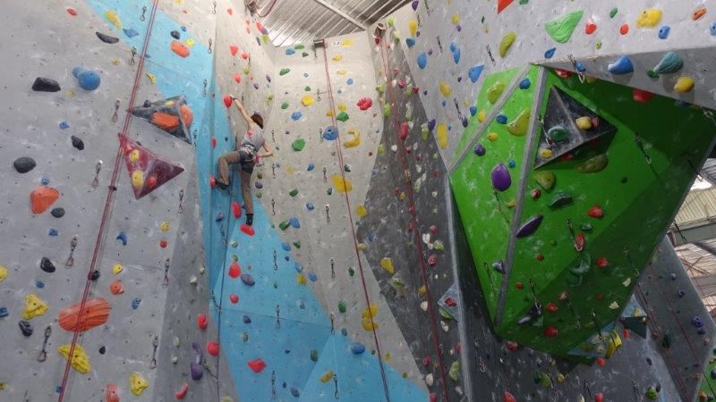 Easy lead climbing routes for beginners in Rock Domain Bangkok