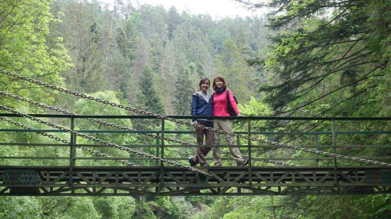 The lovely chain bridge midway through the walking trail in Slovenský raj National Park