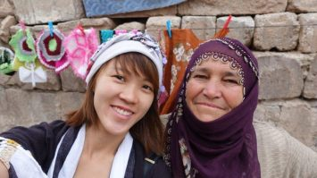 Pretty Turkish handmade scarfs with the local ladies