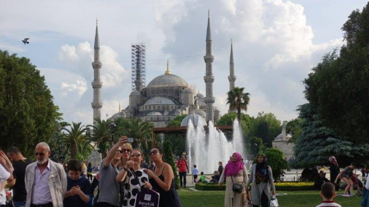 Beautiful Blue Mosque all decorated up during Ramadan fasting period