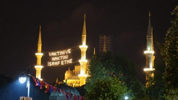Blue Mosque all lighted up in gold at night | During Ramadan Fasting Season