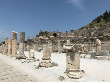 The preserved pillars of the ancient city of Ephesus