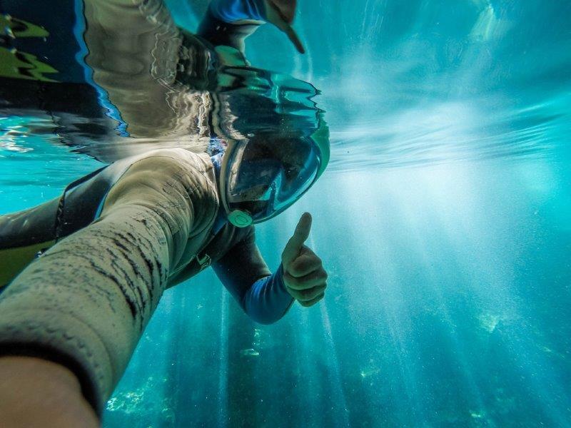 Snorkelling in Dos Ojos Cenote, Tulum, Mexico
