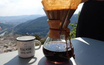 Drinking delicious bohemian coffee at Rose Ridge