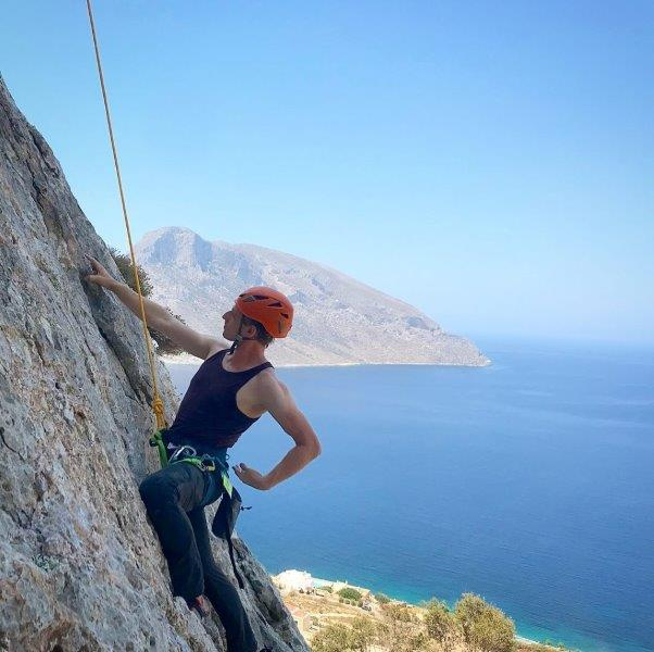 Cez climbing one of the tough routes in Kalymnos