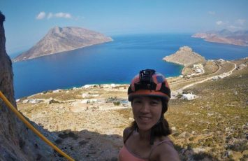 Me scaling the cliff walls on Kalymnos