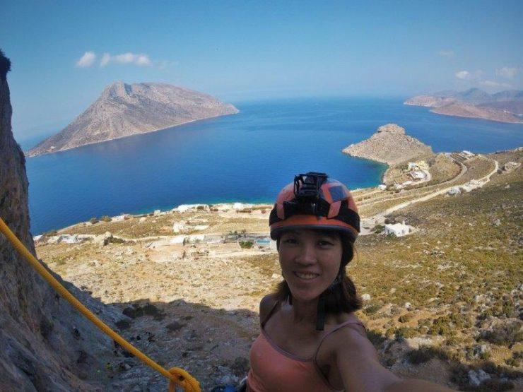 Me scaling the cliff walls on Kalymnos  | Kalymnos Climbing