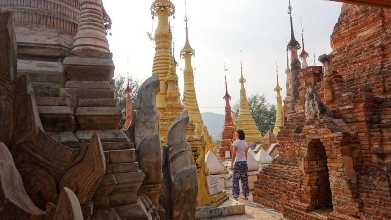 Shwe Indein Pagoda, where a thousand over stupas and pagodas in the village of Indein resides