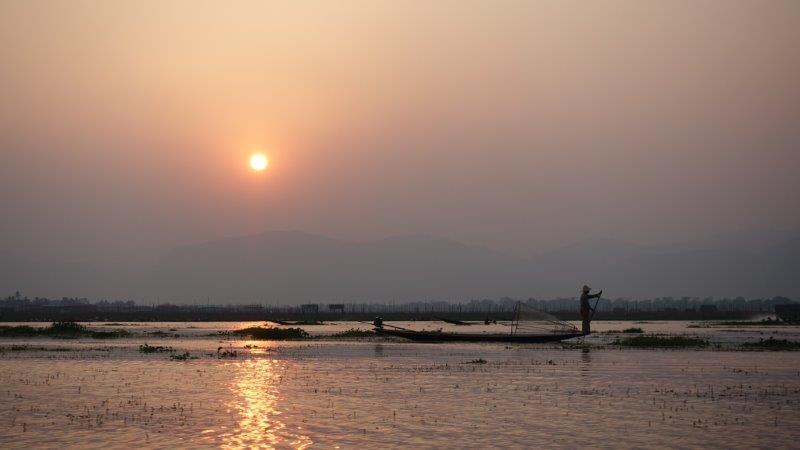Watching the Sunset at Inle Lake