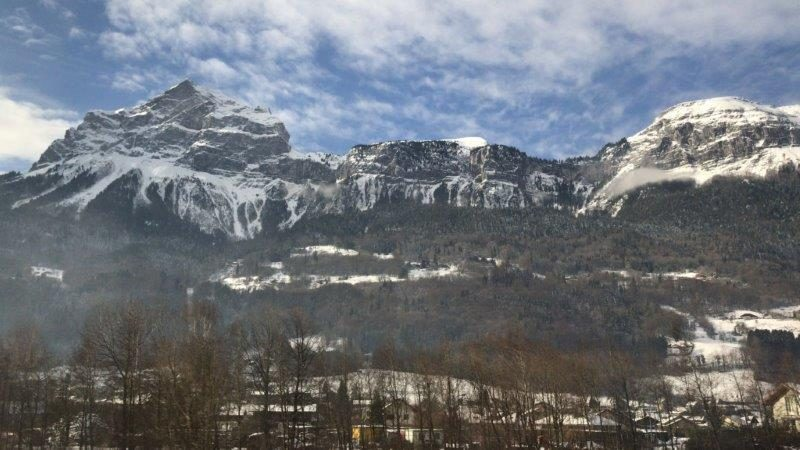 Stunning snowy peaks and landscape in the pretty town and village of Chamonix