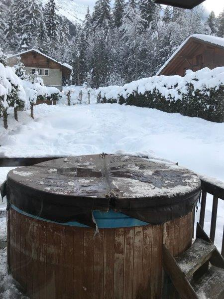 Hot tub in Chamonix Lodge where we stayed. Perfect for winter