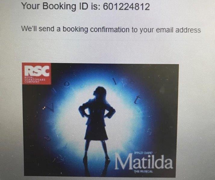 My Online Ticket Purchase for Matilda. Got it at a really good rate