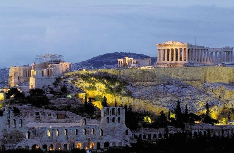 Stunning view of Athens at dusk with the lights on. However, quite a number of the ongoing restoration work does not seem fast enough to preserve these historical monuments.
