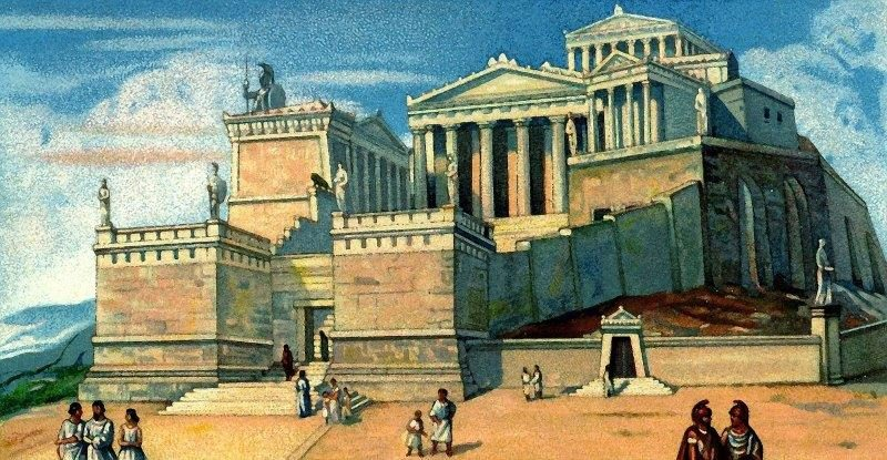 Antique view of what Athens may have looked like hundreds of years ago