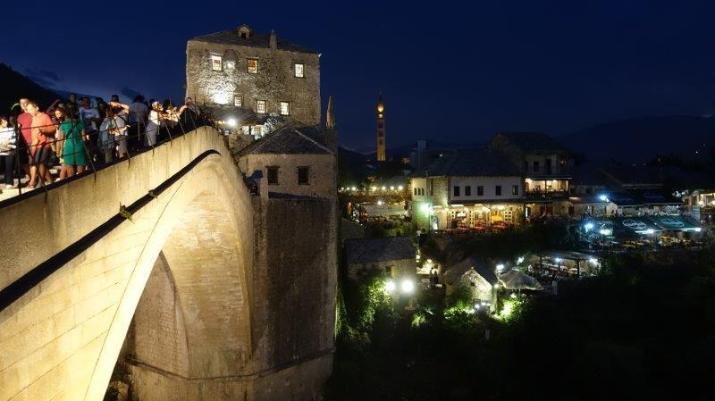 Capturing the night light splattered along historical buildings | Bosnia and Herzegovina charm