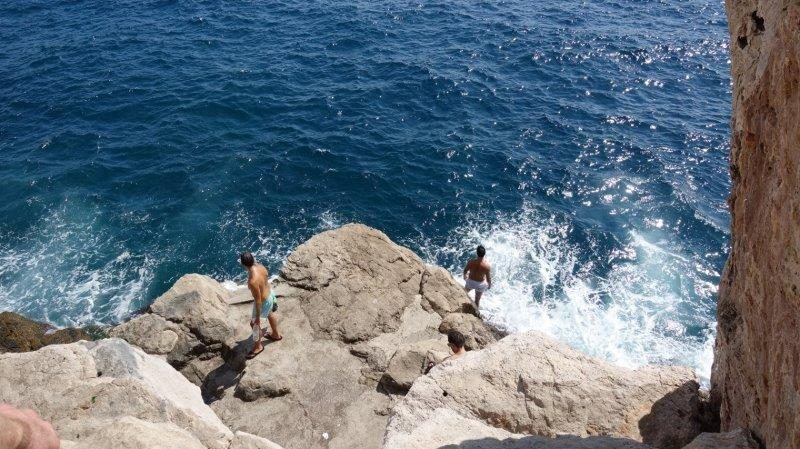 Courageous jump into the Adriatic Sea