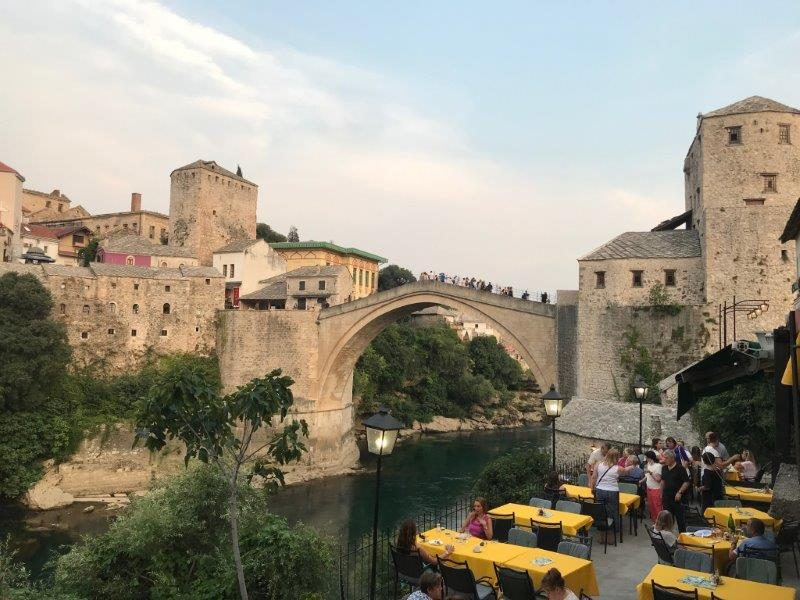 Pretty Old Bridge at Sunset in Mostar Town