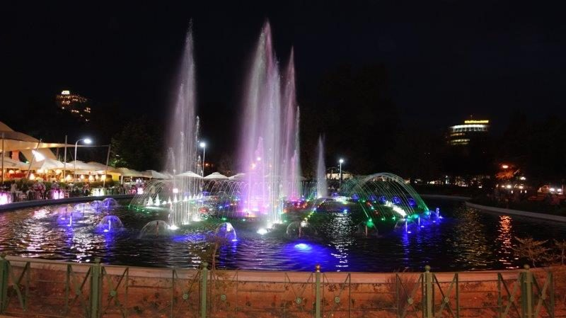 Spectacular night view of water fountains