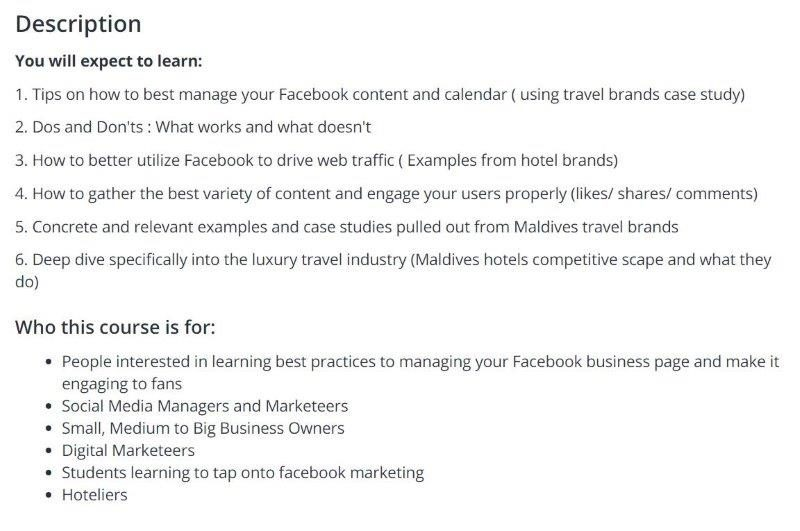 Learn how to effectively use facebook to get engagement and conversions for travel or hotel brands. Simple content marketing online course for hoteliers.
