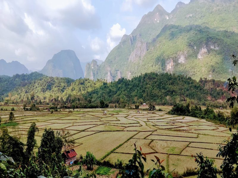 Laos offers beautiful landscapes and sprawling cliffs.