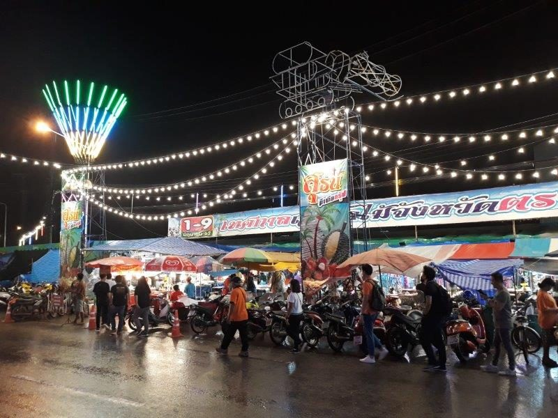 Trat local night market with stalls selling local street food, clothes and accessories
