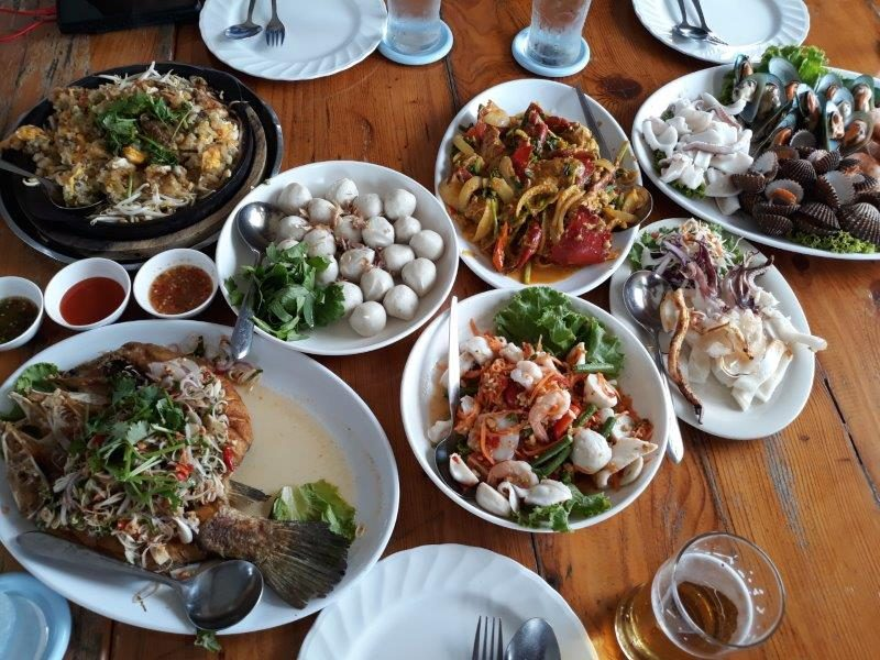 A wide spread of fresh seafood dishes at Rimtalay Seafood Restaurant