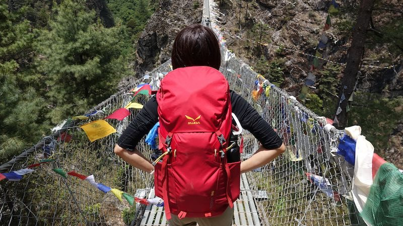 My trusty Salewa backpack throughout the EBC hike | best portable hangboard for travel