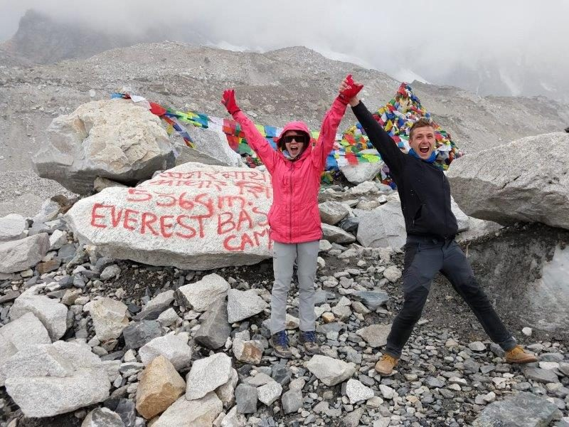 Arriving at Everest Base Camp in the snow and wind