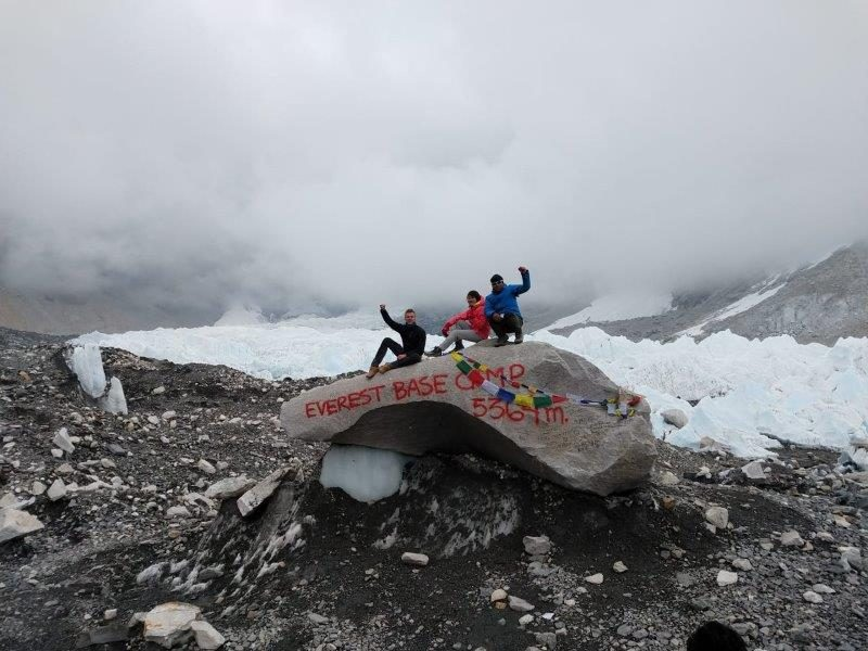 Full View of Everest Base Camp rock in May