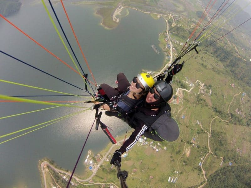 first time at paragliding in Pokhara - Nepal Adventures